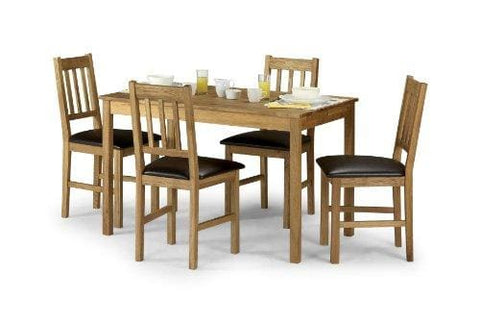 Julian Bowen Coxmoor Solid Oak Dining Set With 4 Chairs Oak