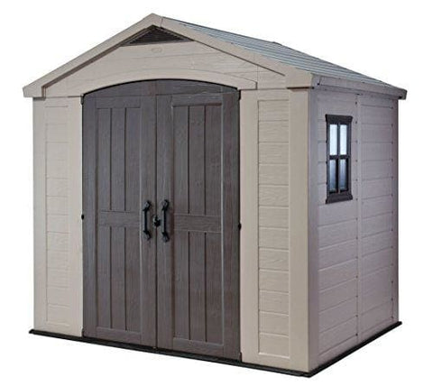 Keter 17197897 Factor Outdoor Plastic Garden Storage Shed 8 X 6 Feet - Beige