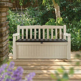 Keter Eden Bench Outdoor Storage Box Garden Furniture 140 X 60 X 84 Cm - Beige And Brown