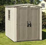 Keter Factor Outdoor Plastic Garden Storage Shed 6 X 6 Feet - Beige
