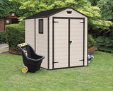 Keter Manor Outdoor Plastic Garden Storage Shed 6 X 8 Feet - Large Beige