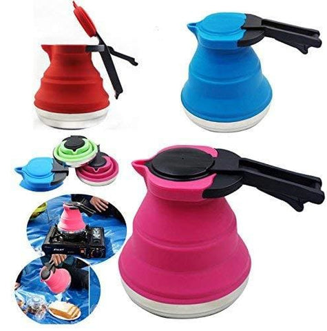 Kettle Portable Foldable Silicone Kettle Boiled Water Teakettle Ideal For Hiking Camping And Indoor;color Shipped Randomly. (1)