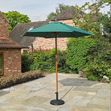 Kingfisher 2.4M Wooden Green Garden Parasol