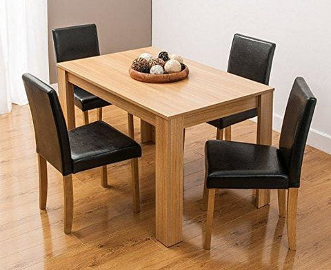 Kosy Koala Modern Wooden Oak Effect Dining Table And 4 Faux Leather High Back Chairs Options For Benches Or Chairs Dining Set (Table &4