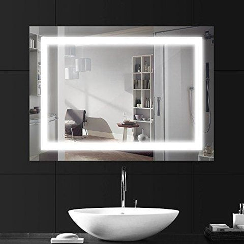 Lebright Bathroom Mirror Light 80X60Cm 18W Vanity Mirror Lights Bathroom Mirrors With Lights Silver Wall Mounted Mirror Light With Switch