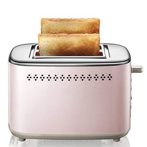 Lj-Mbj 2-Slice Toaster Stainless Steel Household Breakfast Toaster Fully Automatic Defrost Drop-Down Crumb Tray 6 Bread Browning Settings