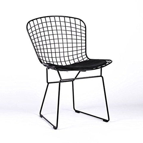 Lmc Harry Bertoia Inspired Black Metal Wire Dining Chair & Seat Pad Cafe Restaurant