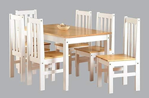 Ludlow Contrasting Pine And White Dining Set With 6 Chairs - Ludlow Dining Range
