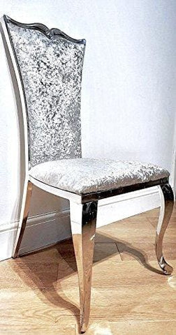 Luxury Italian Style Dining Chairs (Crushed Silver Velvet)