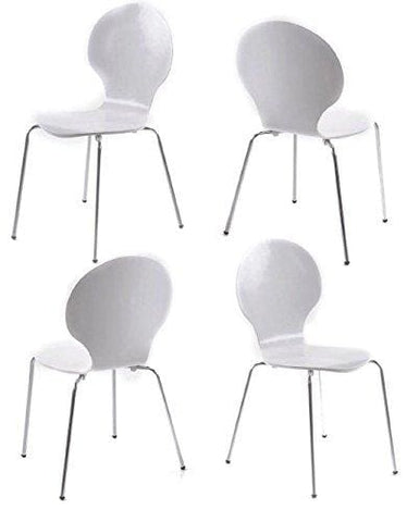 Luxury Marcus Set Of 4 Modern Stackable White Grained Veneered Dining Chairs