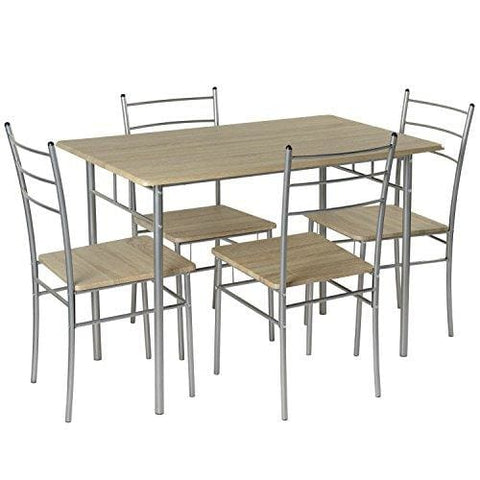 Marko Furniture Casablanca 5Pc Dining Table 4 Chairs Dining Set Kitchen Furniture Metal Frame Bistro Set (Silver)
