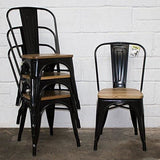 Marko Furniture Set Of 4 Black Industrial Dining Chair Kitchen Bistro Cafe Vintage Wood Seat