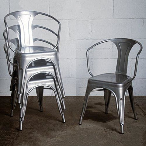 Marko Furniture Set Of 4 Metal Industrial Dining Chair Kitchen Bistro Cafe Vintage Rustic Tolix Style Seating (Silver)