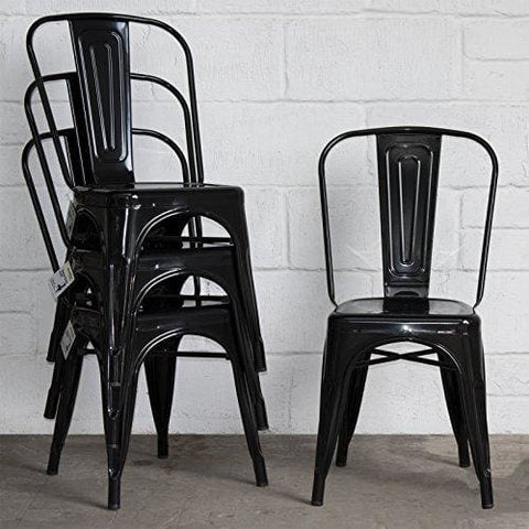 Marko Furniture Siena Metal Dining Chair Stackable Industrial Vintage Style Seat Bistro Cafe Kitchen (4 Chairs Black)