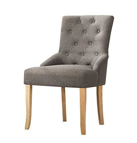 Mcc Linen Fabric Accent Chair Dining Chair For Home & Commercial Restaurants [ Grey * Beige * Red * Brown ] (Grey)