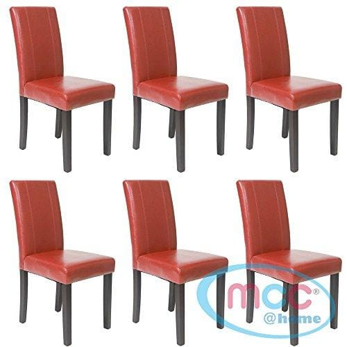 Mcc Set Of 6 Faux Leather Dining Chairs For Home Commercial Restaurants Brown Black Red Cream Red