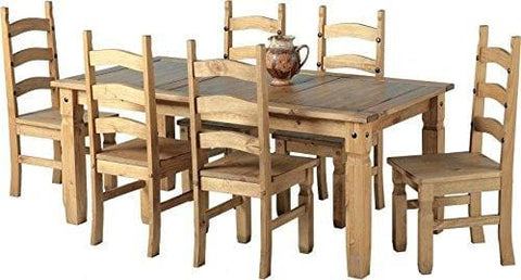 Mexican Corona 6Ft Pine 70 Dining Table Set / 6 Chairs Antique Waxed