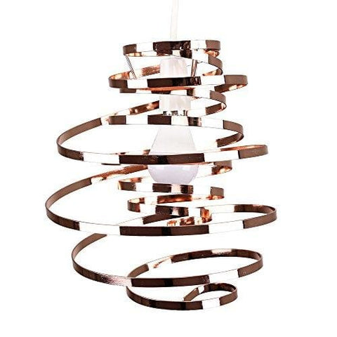 Minisun - Contemporary Copper Metal Double Ribbon Spiral Swirl Ceiling Light Pendant