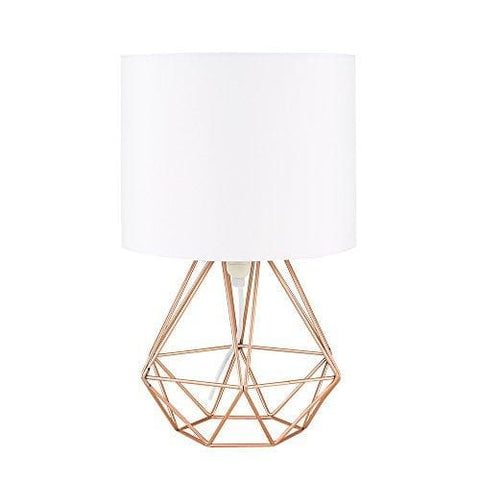 Modern Copper Metal Basket Cage Style Table Lamp With A White Fabric Shade