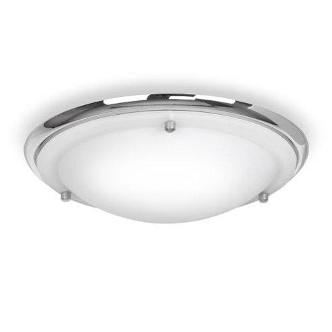 Modern Energy Saving Ip44 Silver Chrome & Glass Flush Bathroom Ceiling Light - Complete With 1 X 13W Es E27 Bulb