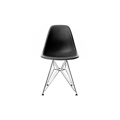 Mof Inspired Eiffel Dining Plastic Chairs Metal Legs Modern Lounge Office Furniture(Black 1)