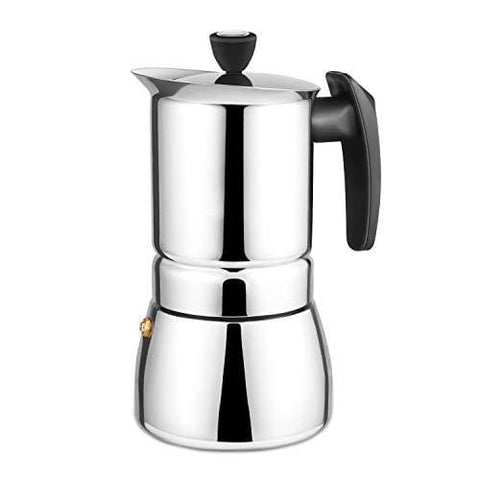 Moka Pot 6 Cups Demitasse Espresso Shot - Stainless Steel - With Replacement Rubber Seal Gasket Ring