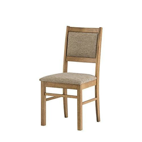 Mood Furniture Kitchen Dining Chair Warm Oak Finish - Solid Wood Frame Oatmeal Upholstered Comfort Seat Table Available To Match - Built To