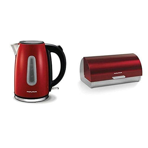 Morphy Richards Red Jug Kettle Equip 102774 Red Electric Kettle With Accents Roll Top Bread Bin Red