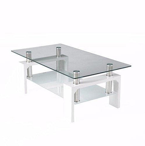 Neotechs® Modern White Rectangle Clear Glass & Chrome Living Room Coffee Table With Lower Shelf