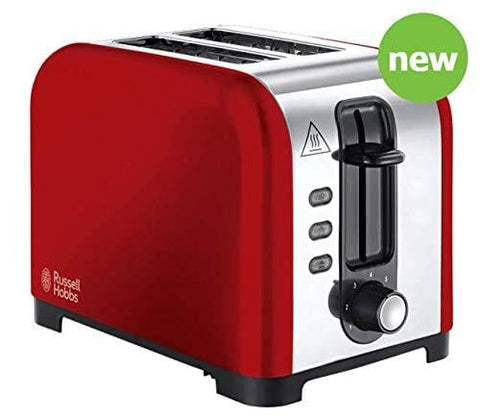 New Extra-Wide Slot For Thick Bread 2 Slice Toaster Red Perfect For Kitchen Breakfast