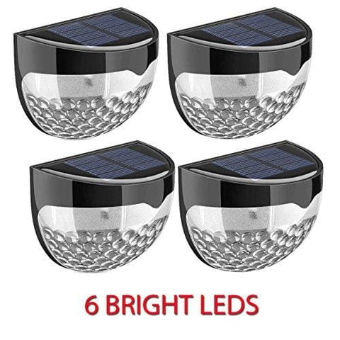 New Pack Of 4 Solar Powered 6 Bright Led Door Fence Wall Lights Outdoor Garden Shed Lighting- Weather-Proof Ip65 Protection Grade