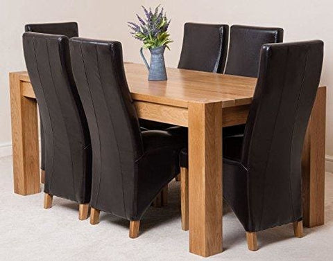 Oak Furniture King Kuba Solid Oak 180 X 90 X 78 Cm Dining Room Kitchen Table & 6 Lola Leather Chairs