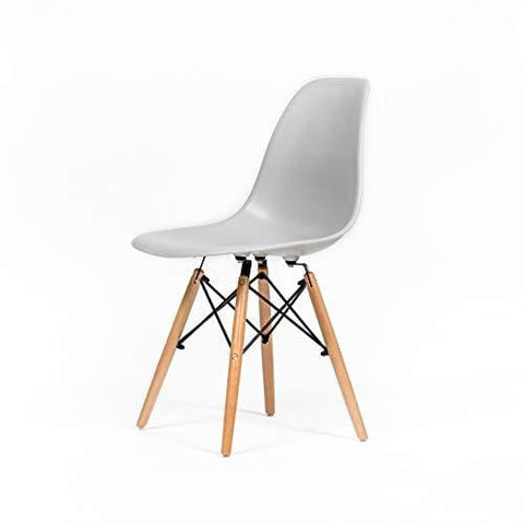 Ochs Modern Dining Plastic Chair With Eiffel Retro Wooden Legs Office Kitchen Lounge Bedroom Designer Chair (Gray Tint Pp)