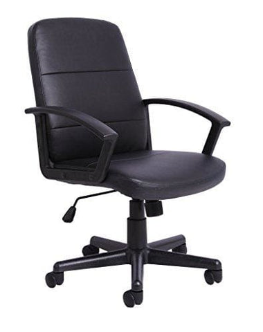 Office Essentials Height Adjustable Pu Leather Manager Office Chair With Torsion Control - Black