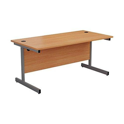 Office Hippo Heavy Duty Rectangular Cantilever Desk 160 Cm - Silver Frame/beech Top