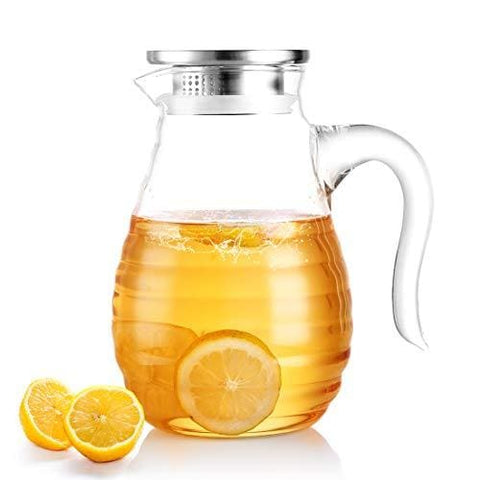 Oneisall Dh17928 1.8L Borosilicate Glass Jug Heat Resistant Hot/cold Water Carafe Pitcher With Stainless Steel Lid Stovetop Safe Kettle With