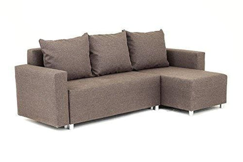 Oslo Corner Sofa Bed With Storage In Brown Linen Fabric - Right