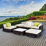 Outsunny 6 Pc Rattan Sofa Coffee Table Set Sectional Wicker Weave Furniture For Garden Outdoor Conservatory W/pillow Cushion - Brown
