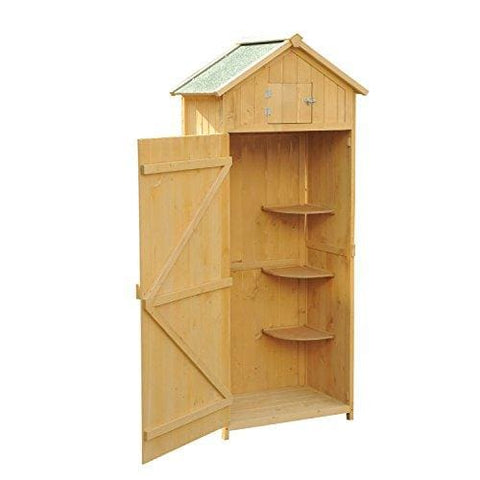 Outsunny Fir Wooden Garden Storage Outdoor Garden Tool Store Shed Storage Cabinet W/ 3 Shelves 77 X 54.2 X 179Cm (Natural Wood Colour)