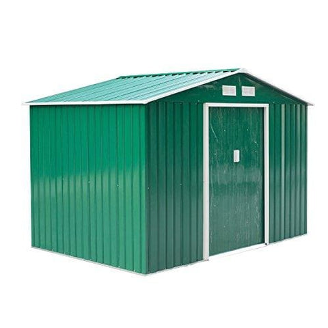 Outsunny Lockable Garden Shed Large Patio Tool Metal Storage Building Foundation Sheds Box Outdoor Furniture (9 X 6 Ft Green)