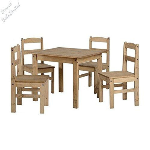 Panama 4 Seater Natural Wax Pine Wooden Dining Set/table & 4 Chairs