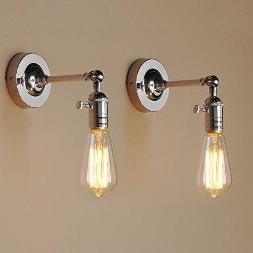 Vintage Metal Loft Pipe Wall Light Lamp BAYCHEER 2-Light Vintage Metal Loft Pipe Wall Light Lamp Retro Industrial Cafe Bar Wall Sconce E27 Lamp Base