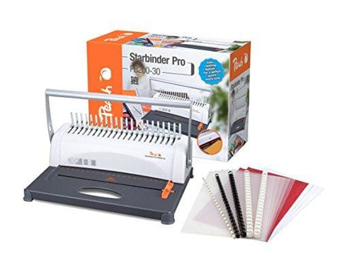 Peach Pb200 30 A4 Plastic Binding Machine 350 Sheet Capacity Includes 15 Piece Starter Set