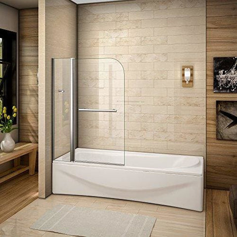 Perfect 1000X1400Mm Bath Shower Screen 180 Degree Pivot Screen Easyclean Glass With Towel Rail