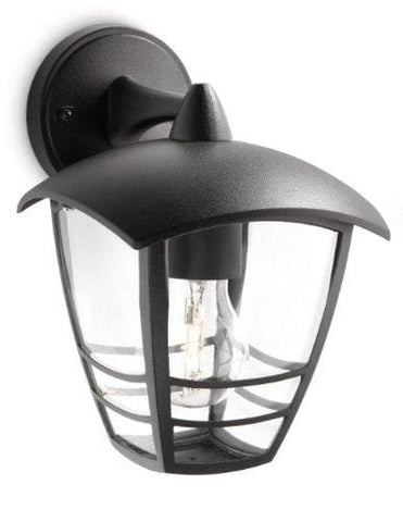 Philips Mygarden Creek Outdoor Wall Light Black (Requires 1 X 60 Watts E27 Bulb)