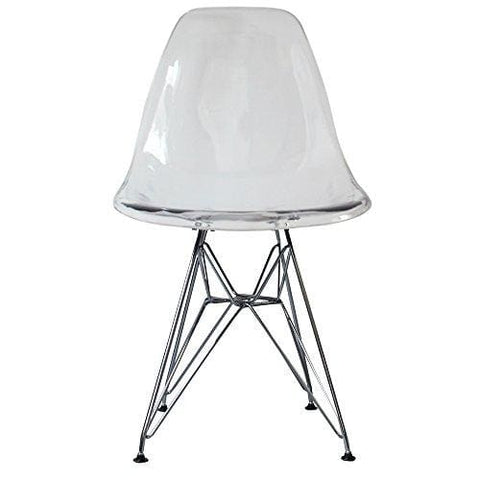 Plastic Dining Chair With Eiffel Inspired Legs Retro Scandinavian Style Dsr (Clear Chrome Legs)