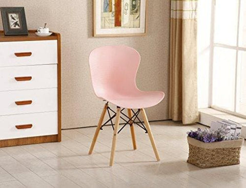 P&n Homewares® Alessia Eiffel Chair Plastic Ribbed Retro White Black Grey Red Yellow Pink Green Blue (Pink)