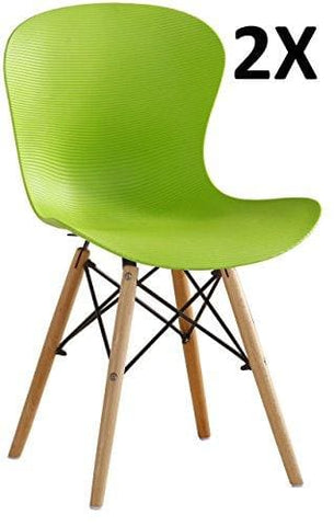 P&n Homewares® Alessia Eiffel Chair Plastic Ribbed Retro White Black Grey Red Yellow Pink Green Blue (Set Of 2 Green)