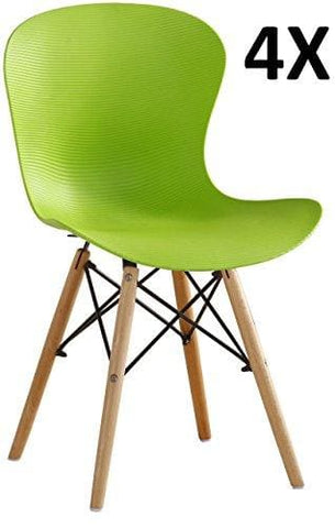 P&n Homewares® Alessia Eiffel Chair Plastic Ribbed Retro White Black Grey Red Yellow Pink Green Blue (Set Of 4 Green)