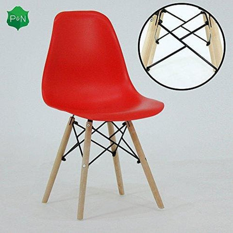 P&n Homewares® Romano Ds Moda Chair Plastic Wood Retro Dining Chairs White Black Grey Red Yellow Pink Green Blue (Red)